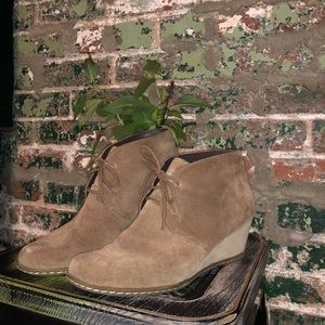 """Franco Sarto Tan Suede Ankle Booties 2.25"""" Wedge"""